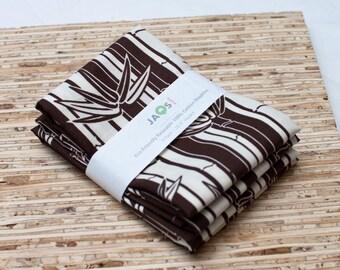 SALE - Large Cloth Napkins - Set of 4 - (N365) - Brown Stripe Bamboo Modern Reusable Fabric Napkins