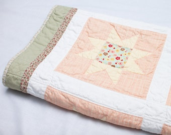 "Stars on Pink Handmade Patchwork Quilt  (41"" x 55"")"