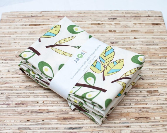Eco-Friendly Large Cloth Napkins - Set of 4 - (N384)
