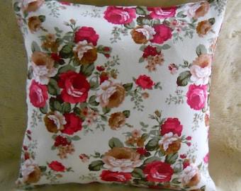 Flower Decorative pillow Cover, floral pillow, accent pillow, red rose pillow cover, throw pillow inch 15x15