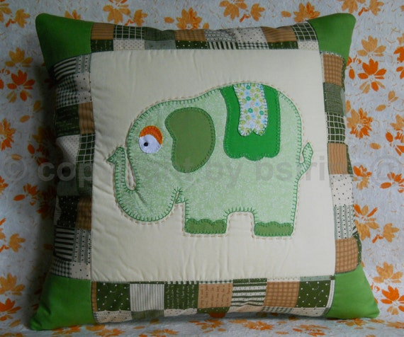 Elephant Pillow Cover, Quilt Pillow Cover, Green Cushion Cover, Accent Pillow Cover, Throw Pillow, Decorative Pillow Cover
