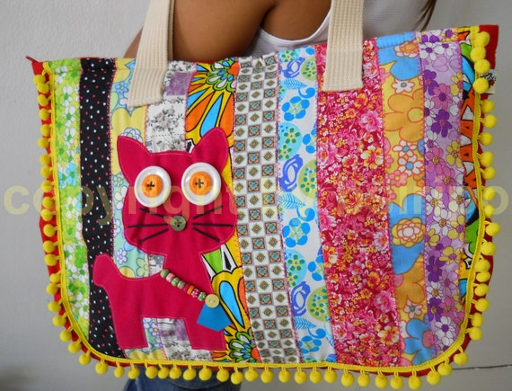 Cute Meow Cat Embroidered patchwork tote cotton handbags Thai Style with yellow pom pom
