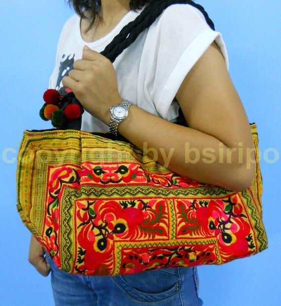 Thai Hmong Embroidered Bag, Hill Tribe bags, Tribal Ethnic Handbag, Vintage Hippy Bohemian Bag, Thai Bag, Pom Pom Bag