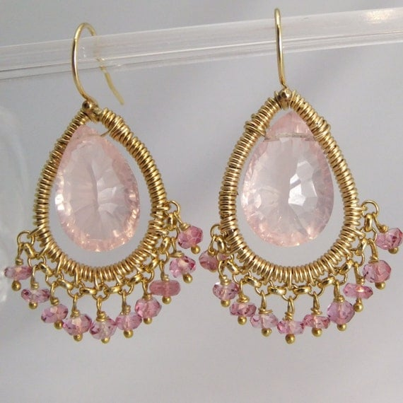Rose Quartz & Pink Topaz earrinngs