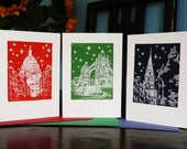 3 London Linocut Christmas Cards, hand-cut and printed, featuring St Pauls Cathedral, Tower Bridge and Christ Church Spitalfields