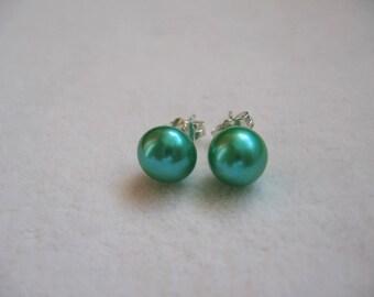Genuine Cyan Green Freshwater Pearl Earring Studs 8-8.5mm