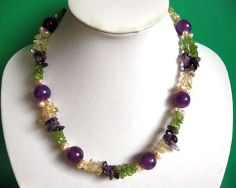 Beautiful Purple Colored Stone Necklace with Amethyst Citrine Mystic Green Quartz Chips Freshwater Pearl
