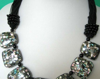 Awesome Necklace - Quilt Abalone, Black Agate