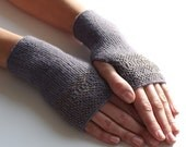Violet/greyish wool fingerless gloves, wrist warmers, arm warmers, fingerless mittens, hand knitted mittens - READY to ship