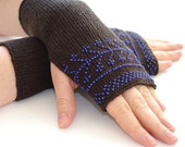 Pure merino wool beaded fingerless gloves, armwarmers, fingerless mittens with deep blue seed beads - READY to ship