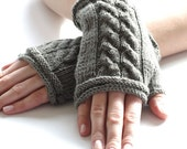 Hand knitted grey wool blend cable knit fingerless gloves, wrist warmers, grey fingerless mittens - READY to ship
