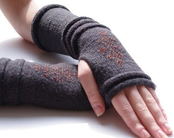 Cozy  wool and acrylic blend beaded fingerless gloves/wrist warmers in dark grey