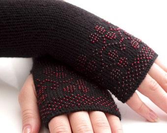 Really soft long virgin wool beaded fingerless gloves, wrist warmers, arm warmers in black with winter berries
