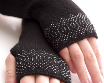 Brushed virgin wool beaded fingerless gloves, fingerless mittens, arm warmers in black with gray  transparent seed beads