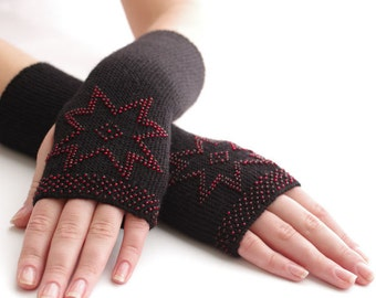 Soft long PURE merino wool beaded fingerless gloves/wrist warmers in black with red beads and a star motif - READY to ship