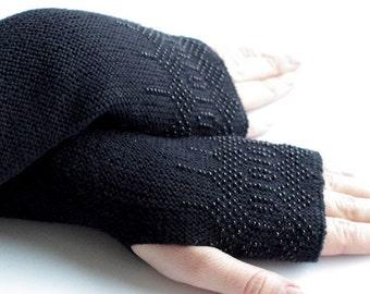 Extra long beaded virgin wool fingerless gloves, wrist warmers, fingerless mittens, arm warmers in black