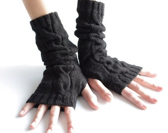 Hand knitted wool and acrylic blend cable knit black fingerless gloves, wrist warmers, arm warmers, fingerless mittens