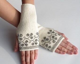 Elegant creamy white alpaca fingerless gloves with black beaded blackberries