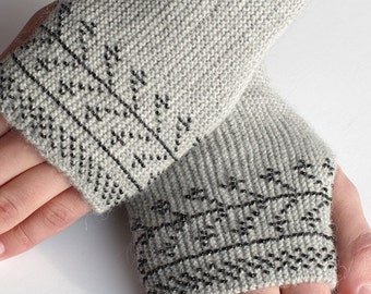Elegant long light grey alpaca fingerless gloves with black beaded branche motifs