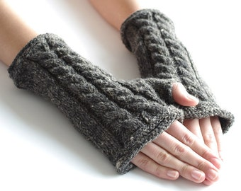 Hand knitted gray hand knit pure wool and silk blend  fingerless gloves, wrist warmers, arm warmers, fingerless mittens - READY to ship