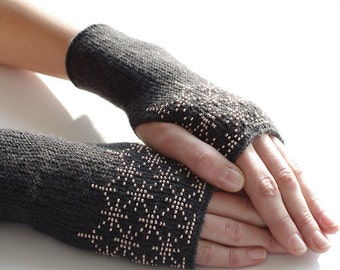 Very soft merino wool and acrylic blend beaded fingerless gloves, wrist warmers, fingerless mittens in dark grey with blush pink glass beads