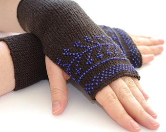 Pure merino wool beaded fingerless gloves, armwarmers, fingerless mittens with deep blue seed beads