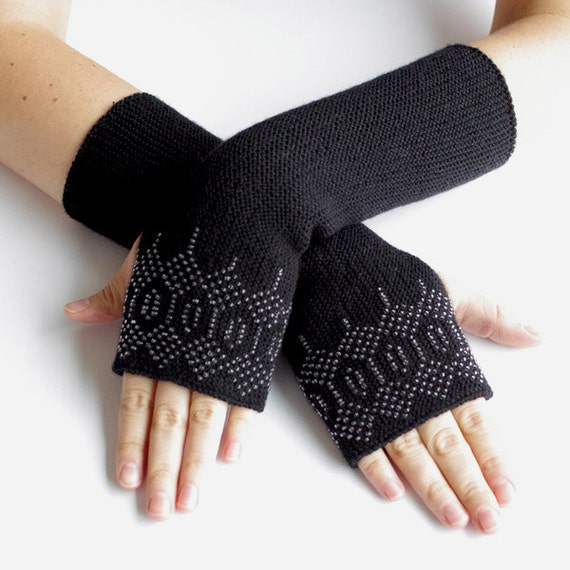 PURE merino wool beaded fingerless gloves, wrist warmers, arm warmers in black with transparent glass beads - READY to ship