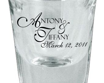 60 Wedding Favor Personalized Glass Shot Glasses