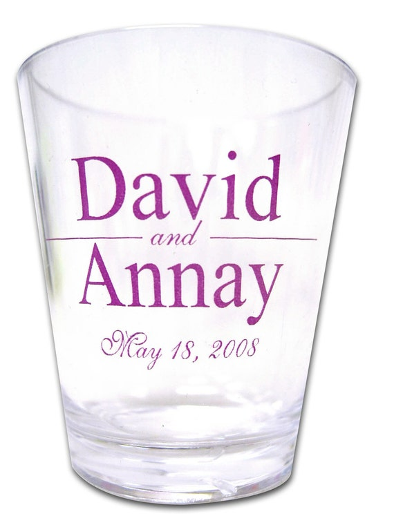 50 personalized custom wedding favor plastic shot glasses