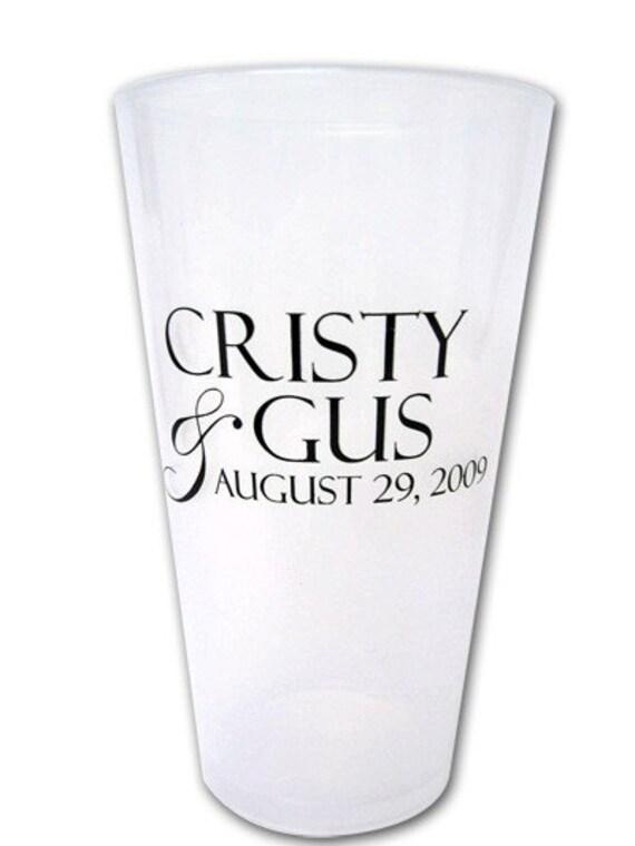 150 Personalized Custom Wedding Favor Plastic Pub Pint Glasses