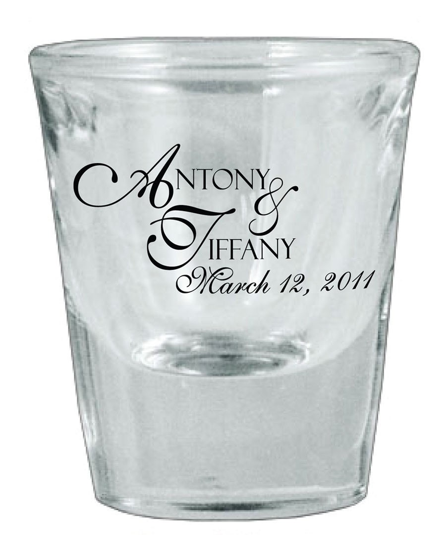 126 wedding favors personalized glass shot glasses by With wedding shot glass favors
