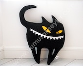 Boxcat black - a monster plushie looks like a cat - soft sculpture