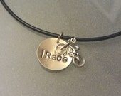 """Handstamped Leather Bicycle """"iRace"""" necklace with Sterling BMX Bike Charm"""