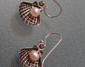 Beach Sterling Clamshell and Pearl Dangle Earrings
