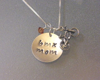 BMX MOM Tri-Charm Sterling Necklace SNBIKE05