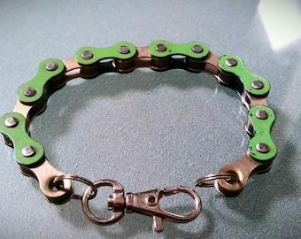 Bike Chain Bracelet Green and Silver - BCGSIL