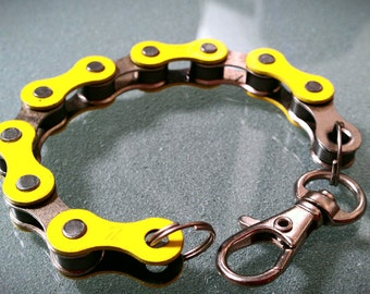 Bike Chain Bracelet Yellow and Silver Two-Tone - BCYSIL