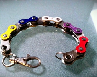 Bike Chain Bracelet Multiple Colors Rainbow and Silver - BCRNBW