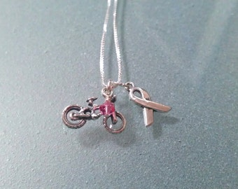 Tri-Charm BMX Breast Cancer Awareness Sterling Necklace - CANECK06