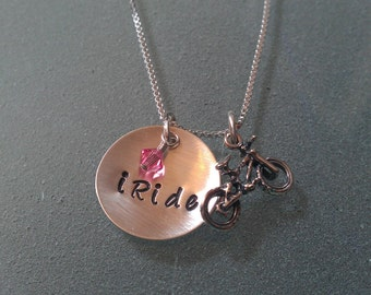"Tri-Charm ""iRide"" Bicycle Charm Sterling Necklace any birthstone - SNRIDE01"