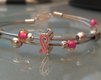 Breast Cancer Awareness Pink Ribbon Bicycle Brake Cable Wire Bracelet - CABRAC02