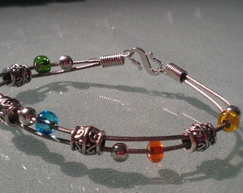 Brake Cable Wire Bracelet Rainbow Primary Color - CBBD07