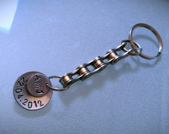 Personalized Two Disc Bike Chain Keychain - KETEXT02