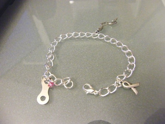 Breast Cancer Awareness Trio Bike Charm Bracelet - CABRAC06