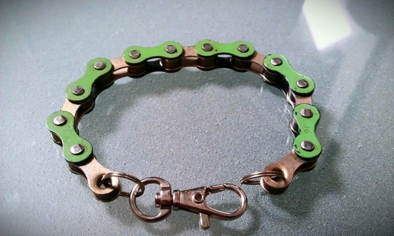 Bike Chain Bracelet Green and Silver - BCGSIL