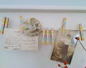 Striped Spring Colored Clothesline Decoration With Hand Decorated Clothespins Shabby Chic Home Decor