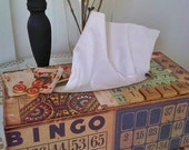 Altered and Collaged One of a Kind Tissue Box Cover -- Collaged Home Decor -- Vintage Ephemera