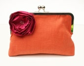 50 PERCENT OFF SALE: Orange Wedding Clutch, Orange Clutch, Orange Bag, Orange Purse, Orange and Pink clutch, Orange clutch with Pink flower