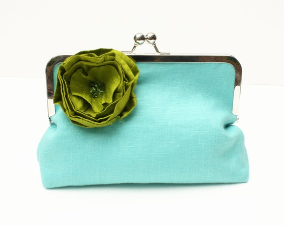 50 PERCENT OFF SALE: Turquoise Wedding Clutch, Turquoise Clutch, Turquoise Linen Clutch with Green Silk Flower, Turquoise and Green Clutch