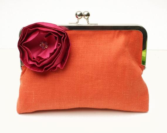 50 PERCENT OFF SALE: Orange Wedding Clutch, Orange Clutch, Orange Bag, Orange Purse, Orange and Pink clutch, Orange clutch with Pink flower